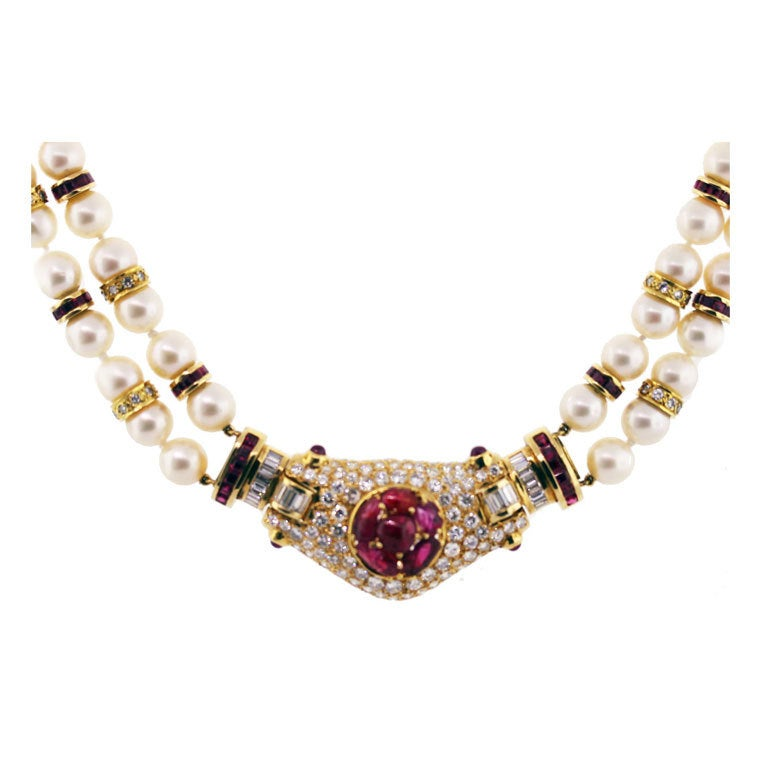 Carved Ruby Diamond Pearl and Yellow Gold Necklace at