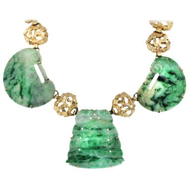 Three Stone Jade and Yellow Gold Statement Necklace
