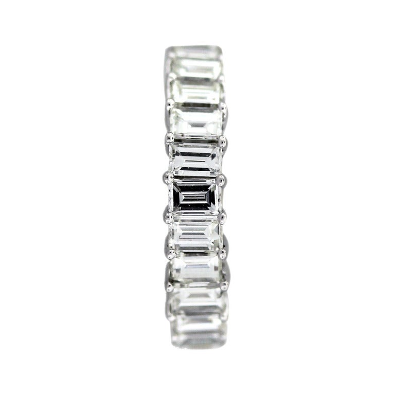 white gold emerald cut eternity band ring at 1stdibs