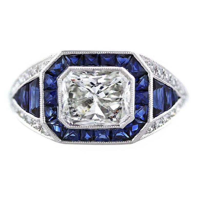 2 carat sapphire and platinum ring at 1stdibs