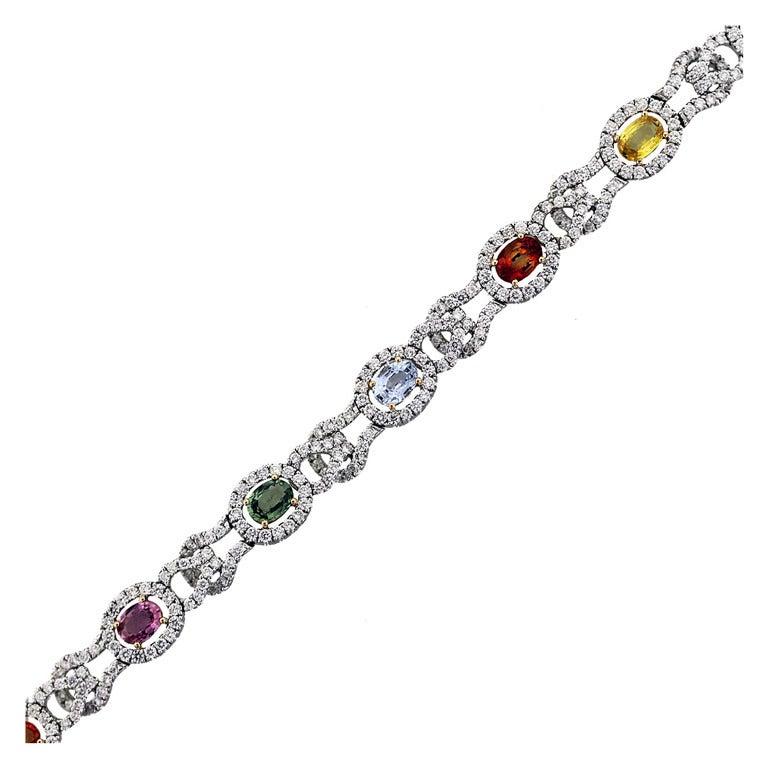 Multi Colored Sapphire And Diamond Bracelet In White Gold