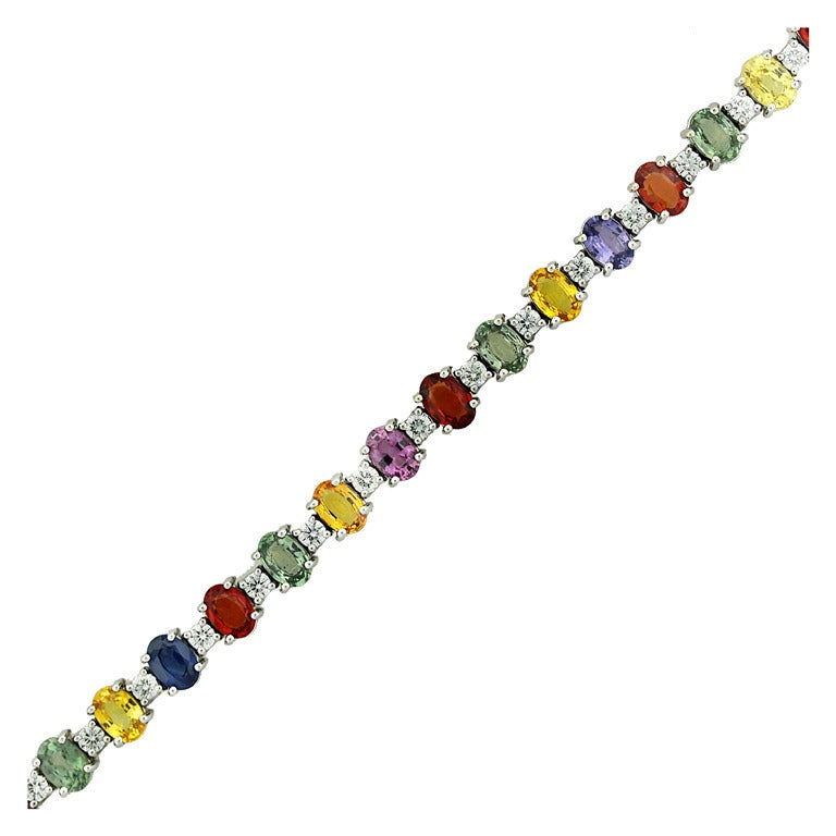 Multi Colored Sapphire Line Bracelet In White Gold At 1stdibs