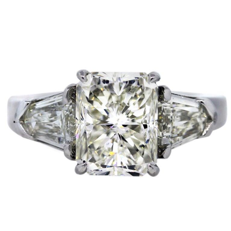 4 01 Carat Radiant Cut Diamond Platinum Engagement Ring