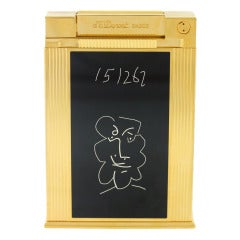 ST DUPONT Yellow Gold Plated Picasso Table Lighter