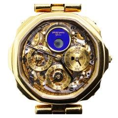 GERALD GENTA Yellow Gold Skeleton Perpetual Calendar Wristwatch