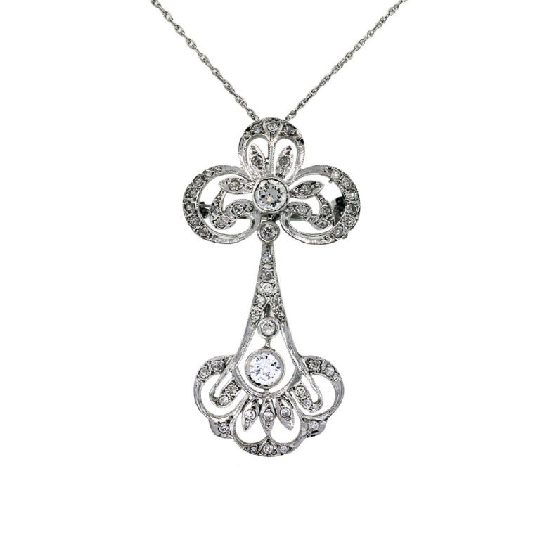 Vintage Diamond and White Gold Dangle Pendant and Chain Necklace