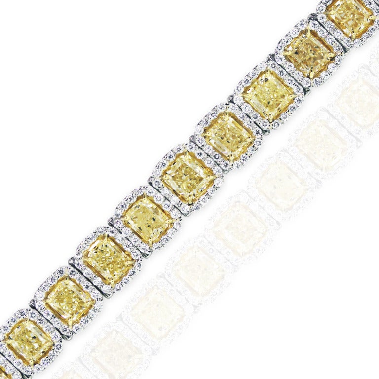 22 Carat Fancy Yellow Diamond Platinum Bracelet 2