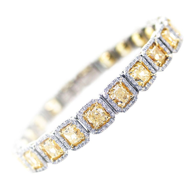 22 Carat Fancy Yellow Diamond Platinum Bracelet 1