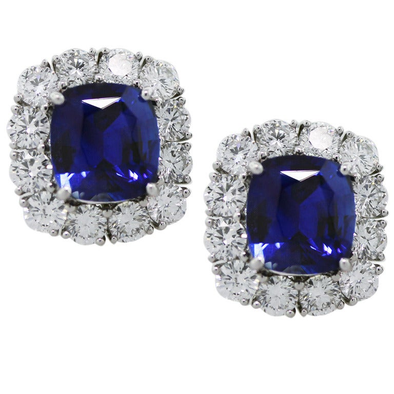 Blue Sapphire and Diamond Platinum Button Earrings 1