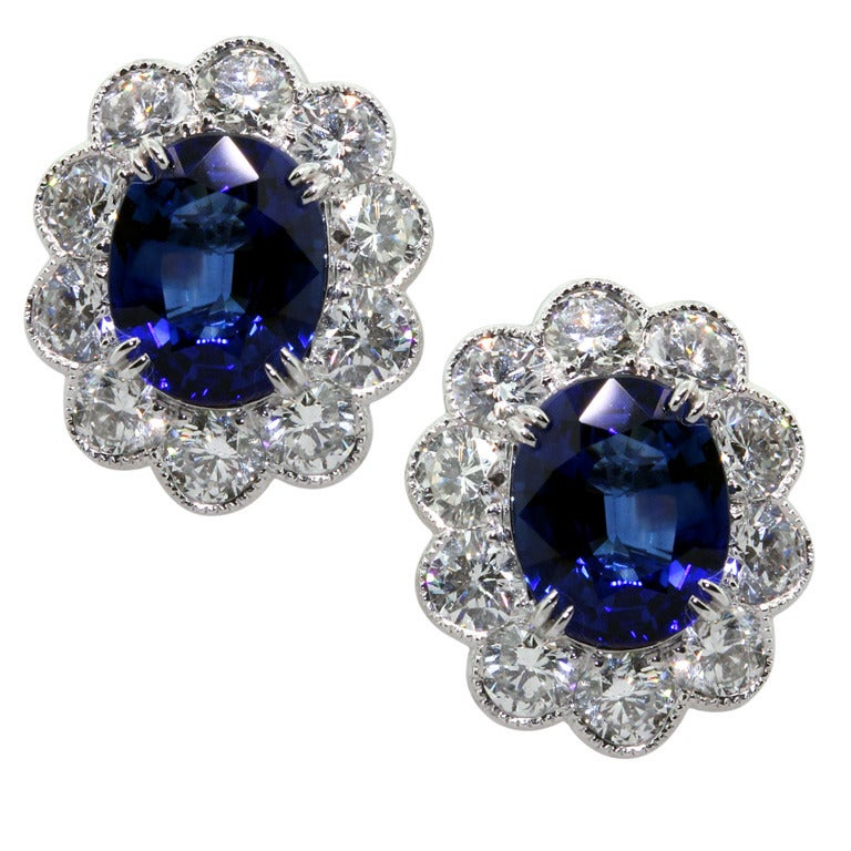 Blue Sapphire Diamond Floral Button Earrings 1