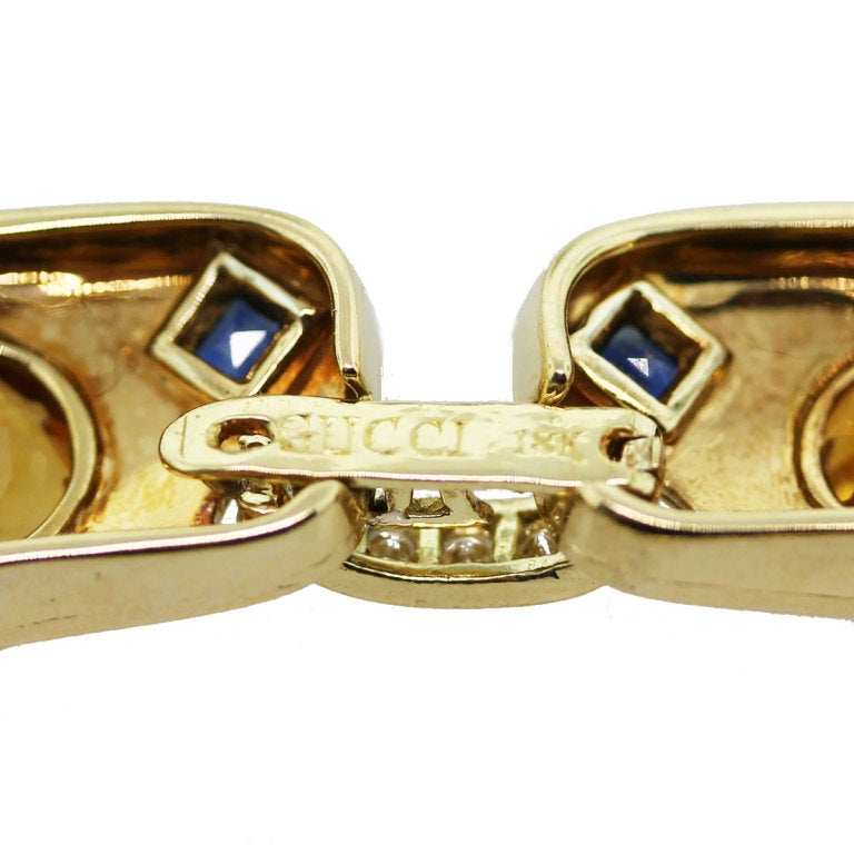 GUCCI Citrine Sapphire Diamond Yellow Gold Necklace 1