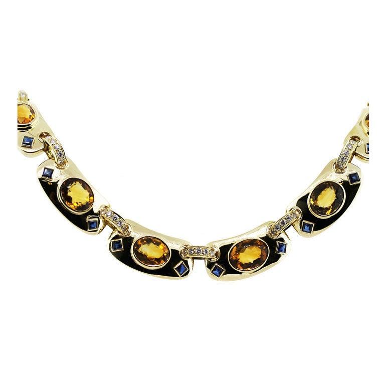GUCCI Citrine Sapphire Diamond Yellow Gold Necklace