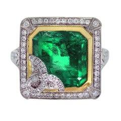 Emerald, Platinum, Yellow Gold, Diamond Ring