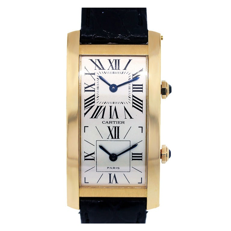 Cartier Yellow Gold Tank Cintree Dual Time Zone Wristwatch