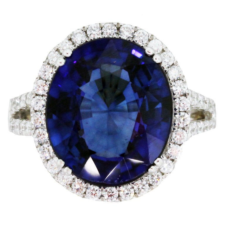 8 Carat Sapphire Diamond White Gold Ring At 1stdibs