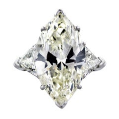 10 Carat Marquise Cut Diamond Engagement Ring with Trillions