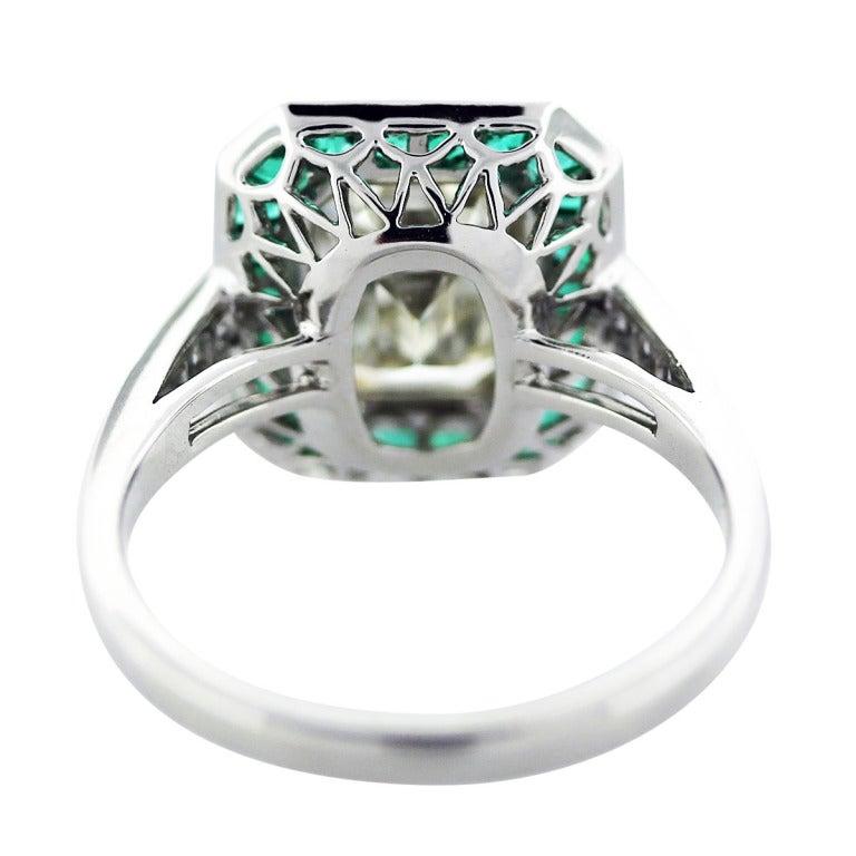emerald and 2 50ct emerald cut platinum engagement