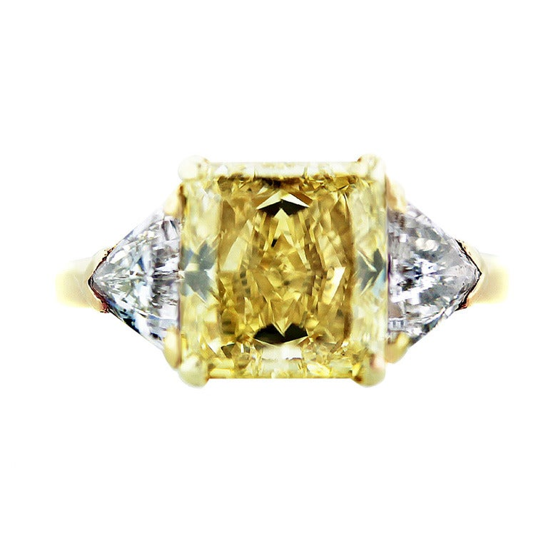 Van Cleef and Arpels Fancy Yellow Radiant Cut Diamond Engagement Ring at 1stdibs