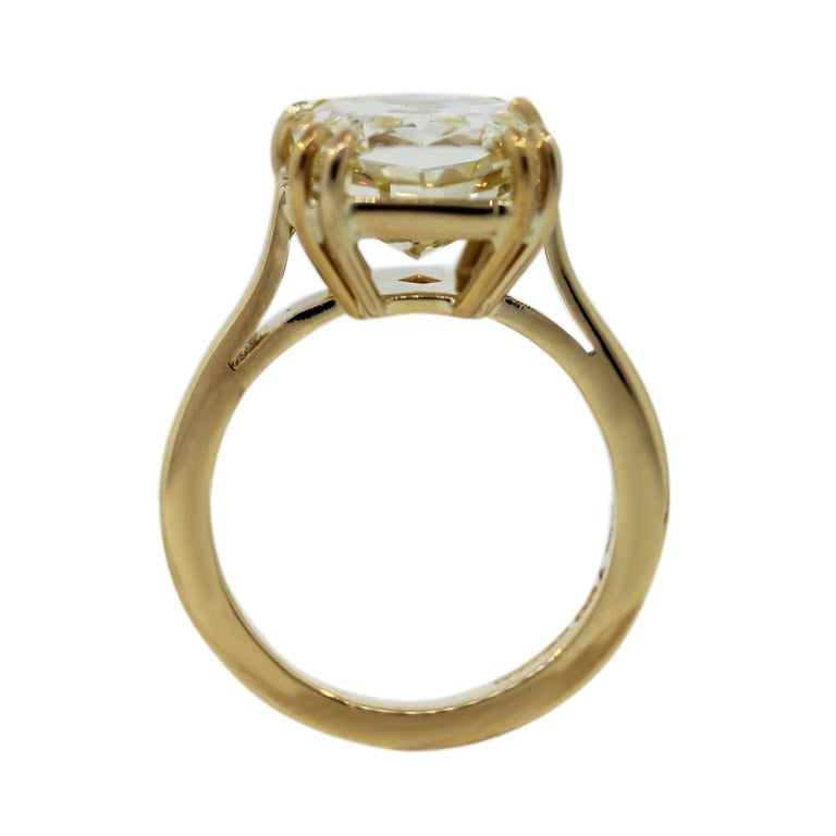 7 Carat Radiant Cut Fancy Yellow Diamond Engagement Ring image 2