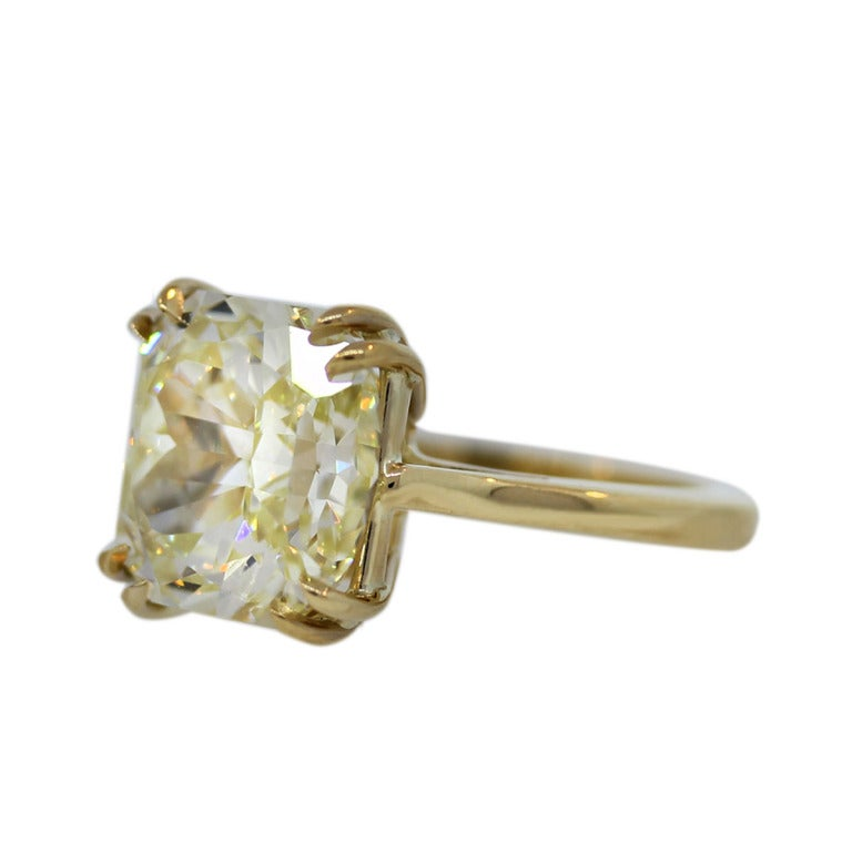 7 Carat Radiant Cut Fancy Yellow Diamond Engagement Ring image 4