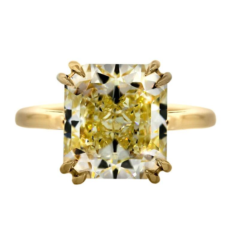 7 Carat Radiant Cut Fancy Yellow Diamond Engagement Ring