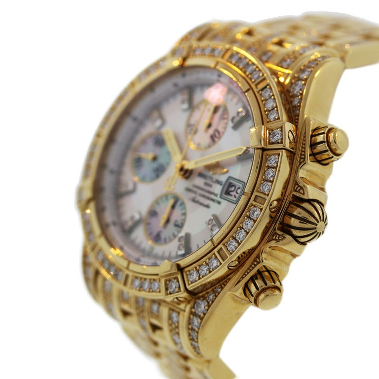 breitling yellow gold and dimaond chronomat evolution