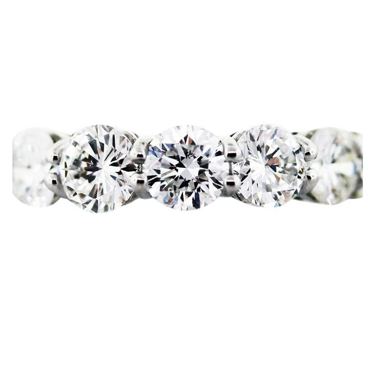 Platinum Round Brilliant Cut Diamond Eternity Ring 6.5ctw, eternity band