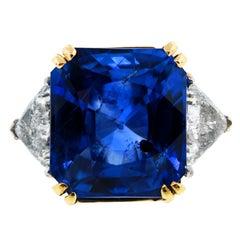Radiant Cut Sapphire Trillion Cut Diamond Gold Platinum Ring