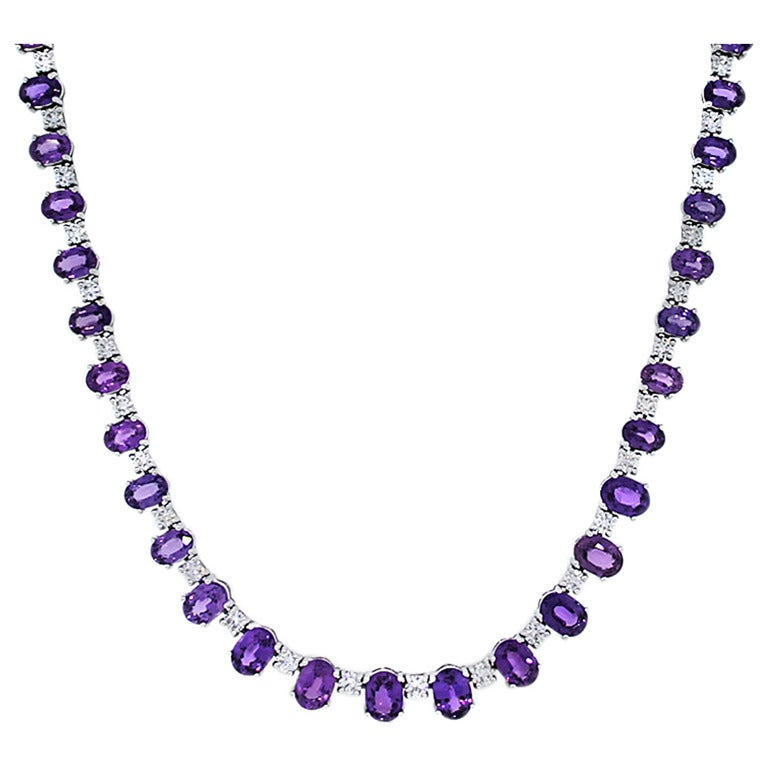 Purple Sapphire And Diamond White Gold Tennis Necklace At