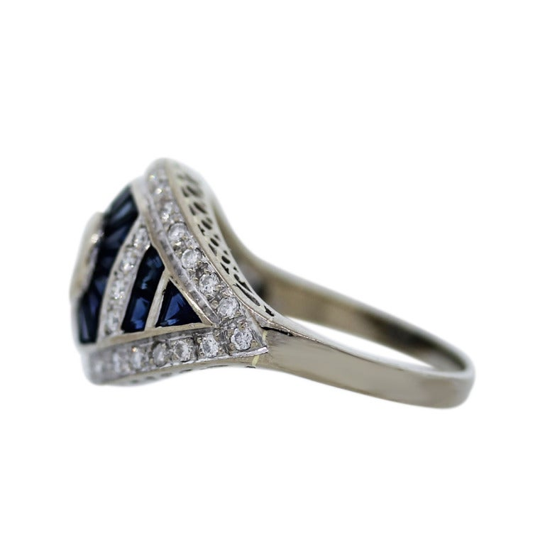 Sapphire Diamond White Gold Right Hand Ring At 1stdibs