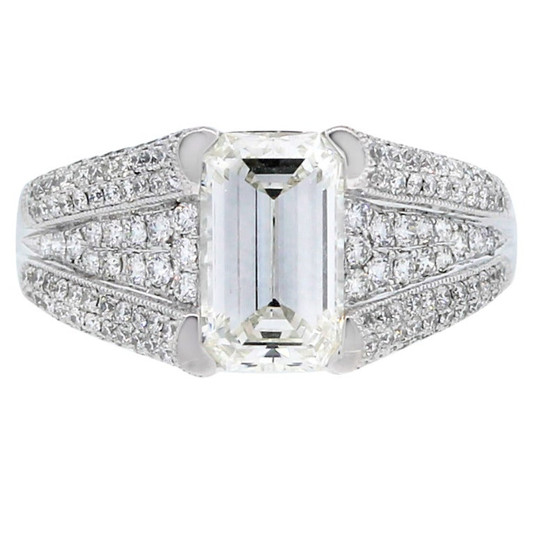 Emerald Cut Diamond Platinum Engagement Ring with Accents at 1stdibs