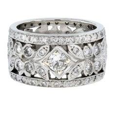 Platinum Round Cut Diamond Leaf Wide Eternity Band