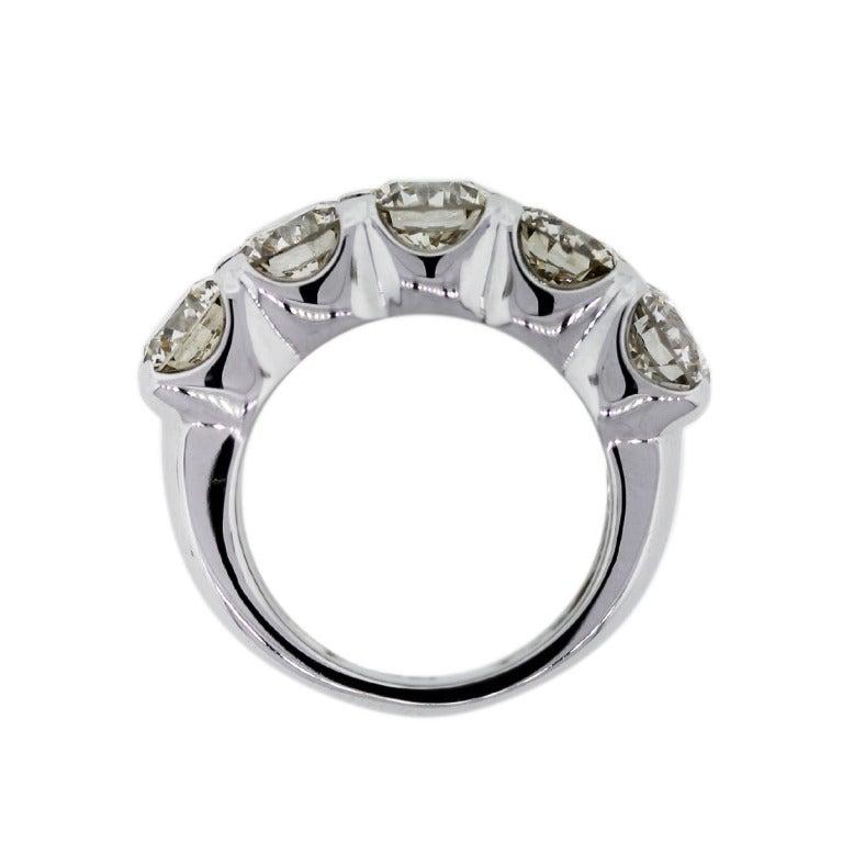 five stone round brilliant diamond wedding band ring image 5