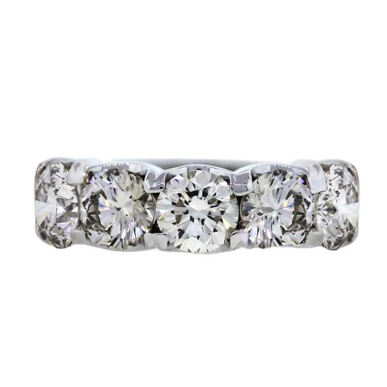 Five Stone Round Brilliant Diamond Wedding Band Ring At 1stdibs