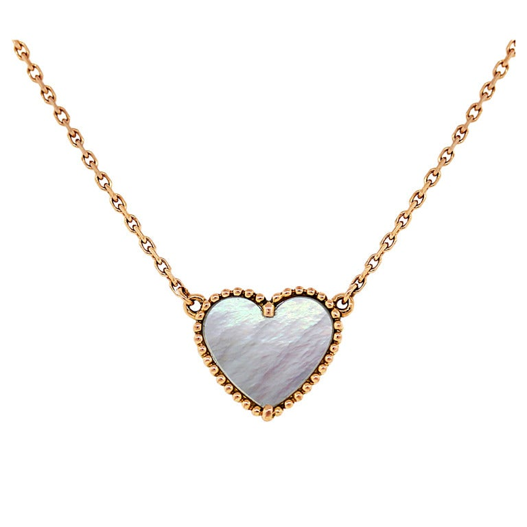 Van Cleef and Arpels Sweet Alhambra Pendant on Rose Gold Chain at