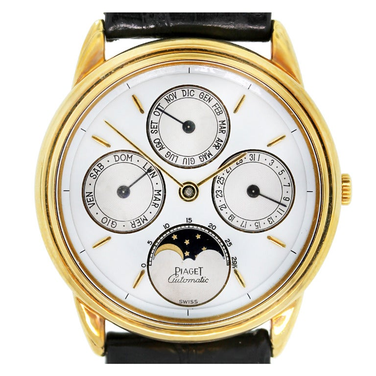Piaget Yellow Gold Triple Calendar Moonphase Wristwatch At