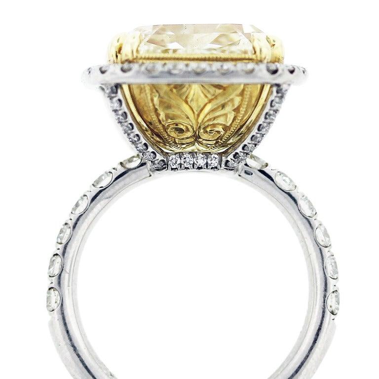 11 carat cushion cut fancy yellow engagement ring