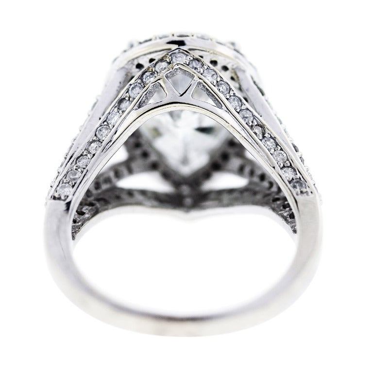 Pear Shaped Diamond Halo Style Pave Engagement Ring At 1stdibs