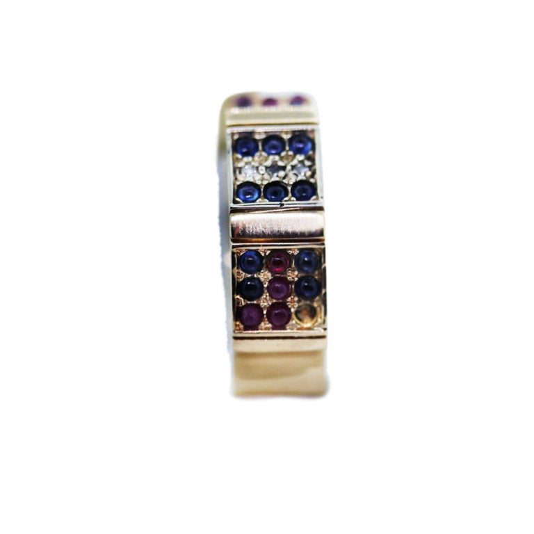 AGAM CIRCLE GALLERY Emerald, Ruby, Sapphire Band image 2