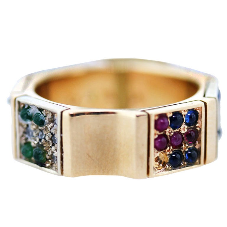 AGAM CIRCLE GALLERY Emerald, Ruby, Sapphire Band