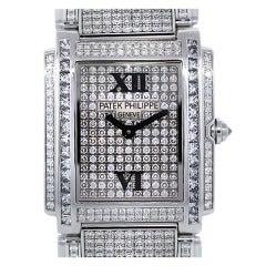 Patek Philippe Lady's White Gold and Diamond Twenty-4 Bracelet Watch Ref 4910/51G