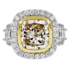 6.02 Carat Fancy Yellow Cushion Cut Diamond Engagement Ring