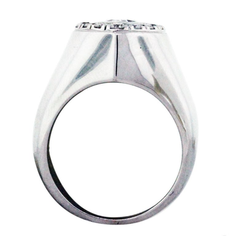 pear shaped white gold mens ring with
