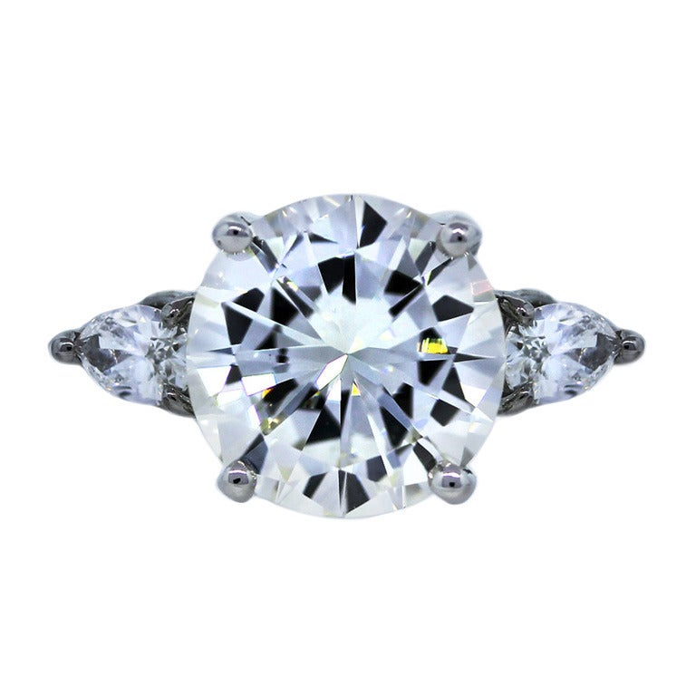 5 04 Carat Round Brilliant and Pear Shaped Three Stone Diamond Engagement Rin