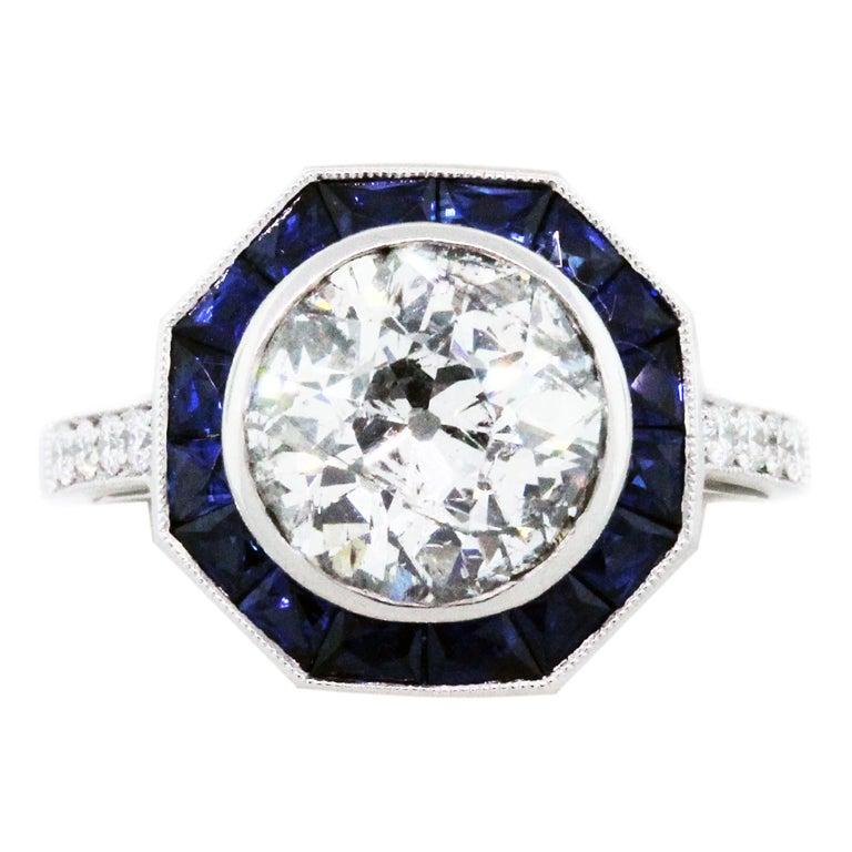 platinum sapphire engagement ring app 2 55 carats