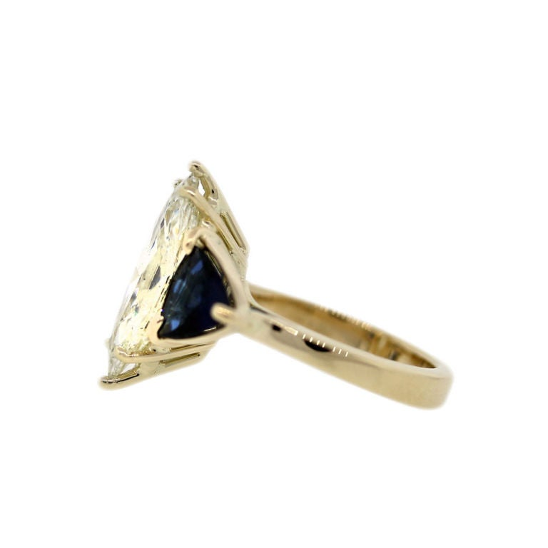 Sapphire 3.06 Carat Marquise Diamond Yellow Gold Engagement Ring 3