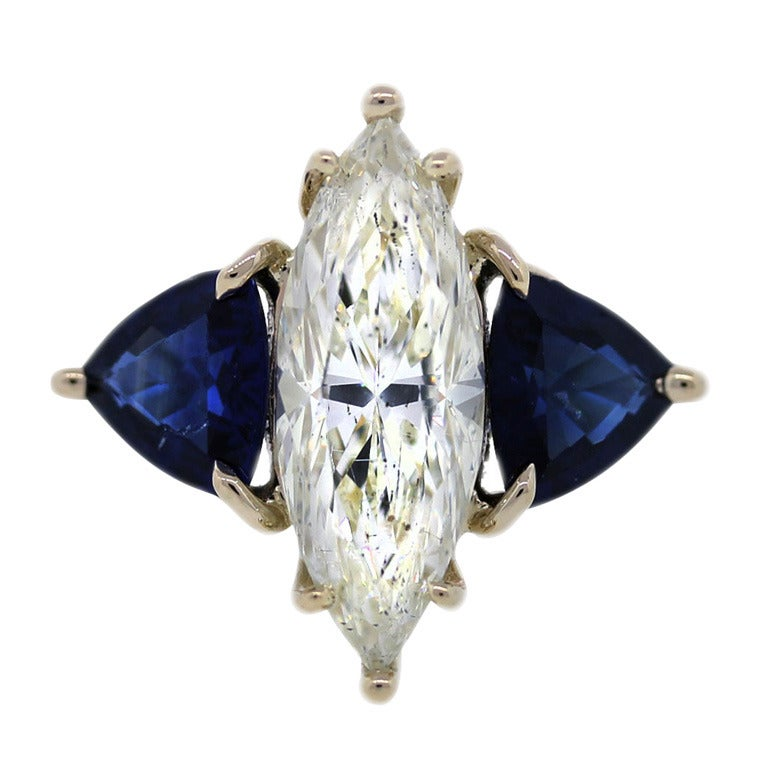 Sapphire 3.06 Carat Marquise Diamond Yellow Gold Engagement Ring 1