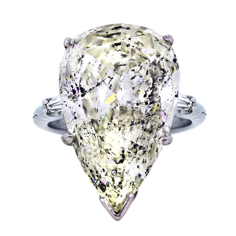 14 33 carat pear shaped platinum and gold