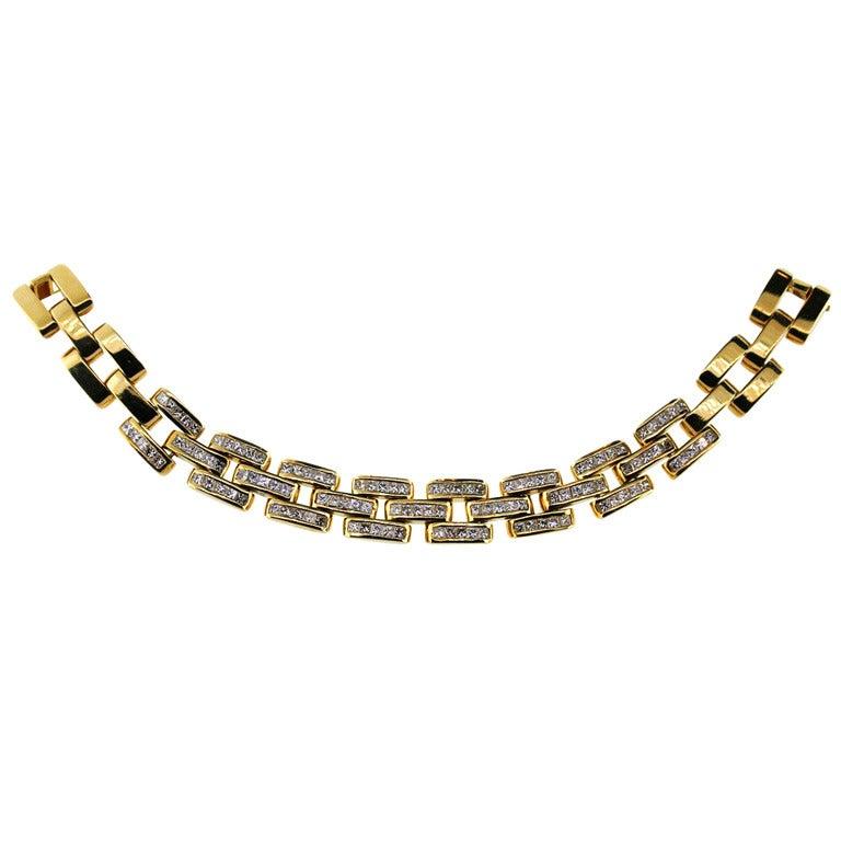 Princess Cut Diamond Yellow Gold Link Necklace