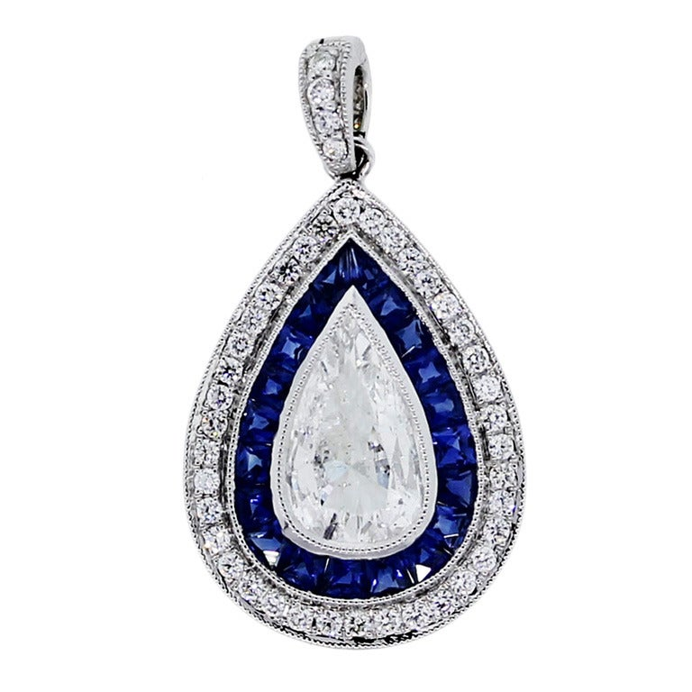 1.07ct Pear Shaped Sapphire Diamond Pendant in Platinum